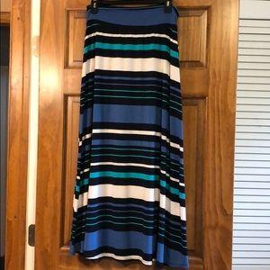 Blue teal white stripe long maxi skirt Merona